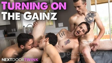 Quentin Gainz, Scott Finn, Evan Landers, Ian Oakley - Turning On The Gainz [FullHD 1080p/NextDoorTwink/2019]